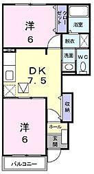 JR東海道・山陽本線 南彦根駅 バス8分 大堀町集会所前下車 徒歩4分の賃貸アパート 1階2DKの間取り