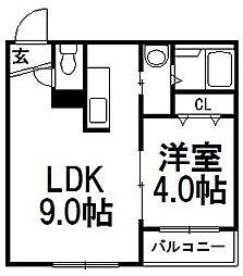 クローバー円山南[306号室]の間取り