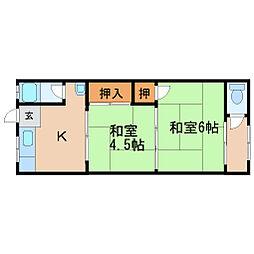 一本松アパート[2階]の間取り