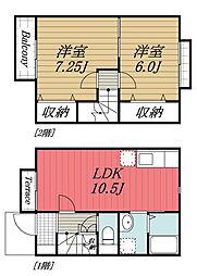 [タウンハウス] 千葉県香取郡神崎町大貫 の賃貸【/】の間取り
