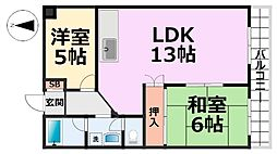 橋本第2マンション[206号室号室]の間取り