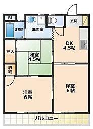 上野ロイヤルコーポ[1階]の間取り