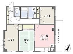 東武東上線 中板橋駅 徒歩4分の賃貸マンション 4階3LDKの間取り