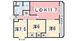 兵庫県姫路市北条宮の町の賃貸マンションの間取り