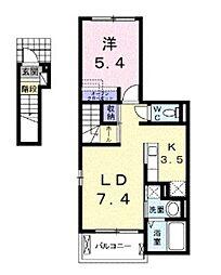 JR山陽本線 北長瀬駅 徒歩24分の賃貸アパート 2階1LDKの間取り