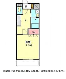 愛知県一宮市両郷町5丁目の賃貸アパートの間取り