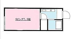東京都府中市白糸台6丁目の賃貸アパートの間取り
