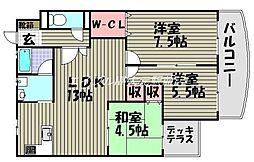ラ・クール庭瀬[2階]の間取り