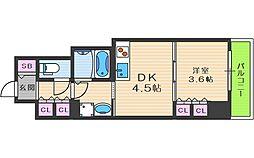 エル・セレーノ大阪天神橋 7階1DKの間取り