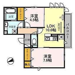 JR関西本線 加美駅 徒歩5分の賃貸アパート 3階2LDKの間取り