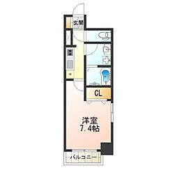 Osaka Metro四つ橋線 北加賀屋駅 徒歩5分の賃貸マンション 6階1Kの間取り