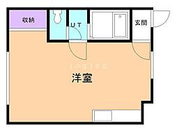 華コーポ 1階ワンルームの間取り