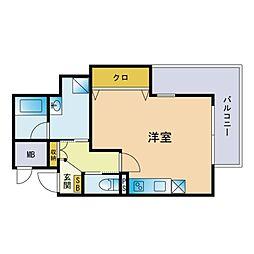 LUXE ONE 6階ワンルームの間取り