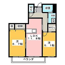 岡山県岡山市南区福浜町の賃貸アパートの間取り