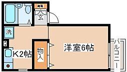 兵庫県神戸市中央区神若通4丁目の賃貸アパートの間取り