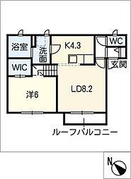 愛知県安城市姫小川町芝山の賃貸アパートの間取り