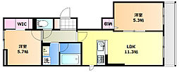 JR山陽本線 北長瀬駅 徒歩21分の賃貸マンション 2階2LDKの間取り