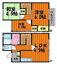 岡山県倉敷市中央1丁目の賃貸アパートの間取り