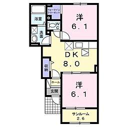 ピュアーズ15B[1階]の間取り