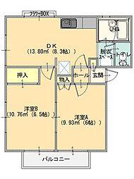コーポクボタ B棟[202号室]の間取り