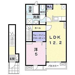 小田急小田原線 東海大学前駅 徒歩19分の賃貸アパート 2階1LDKの間取り