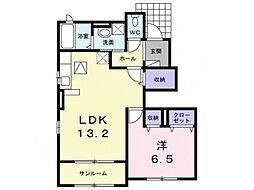 林アパートB 1階1LDKの間取り