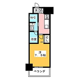 パークアクシス名古屋山王橋 6階1Kの間取り