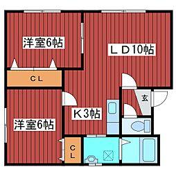ボヌール福住II[2階]の間取り