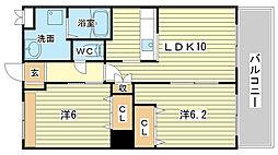 兵庫県姫路市飾磨区高町2丁目の賃貸アパートの間取り