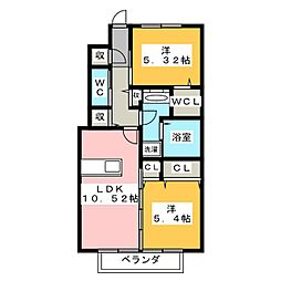 静岡県静岡市駿河区宮竹1丁目の賃貸アパートの間取り