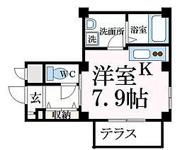 JR東海道・山陽本線 摂津本山駅 徒歩5分の賃貸マンション 1階ワンルームの間取り