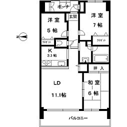 コスモシティ住吉川公園 14階3LDKの間取り