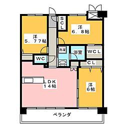 愛知県名古屋市千種区大島町1丁目の賃貸マンションの間取り