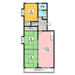 クレール東大利 B棟[2階]の間取り