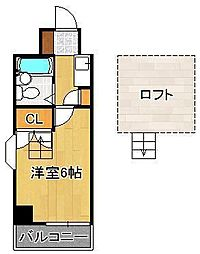 ロイヤルシャトー黒崎 5階ワンルームの間取り