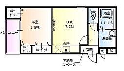 大阪府堺市西区浜寺公園町3丁の賃貸アパートの間取り