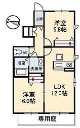 ヒルズK&M[1階]の間取り