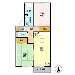 セジュール御堂の上A[1階]の間取り