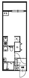 小田急小田原線 千歳船橋駅 徒歩18分の賃貸マンション 6階ワンルームの間取り