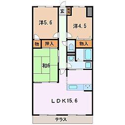 静岡県富士市水戸島1丁目の賃貸マンションの間取り