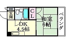 平野西シャルマン[103号室]の間取り
