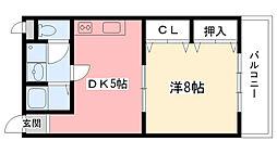 兵庫県西宮市上之町の賃貸マンションの間取り