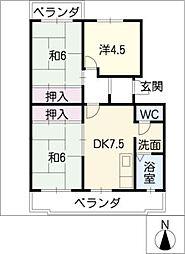 グリーンヒル東新K[1階]の間取り