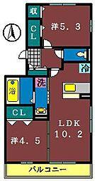 サニーハイツ(村上南)[301号室]の間取り