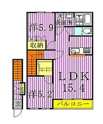千葉県野田市中野台の賃貸マンションの間取り