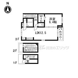 近鉄京都線 東寺駅 徒歩4分の賃貸アパート 3階1LDKの間取り