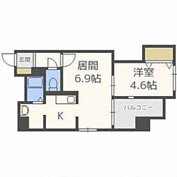 北海道札幌市中央区南一条西18の賃貸マンションの間取り