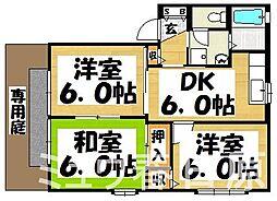 福岡県春日市下白水南7丁目の賃貸アパートの間取り