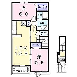 波志江町アパート[0202号室]の間取り