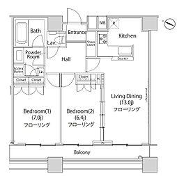 ファーストリアルタワー新宿 26階2LDKの間取り